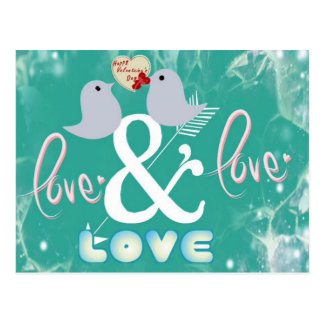 Carte Postale Saint Valentin bleu vintage d'amour de cupidon de