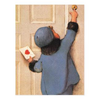 Carte Postale Saint-Valentin mignonne vintage, courrier de