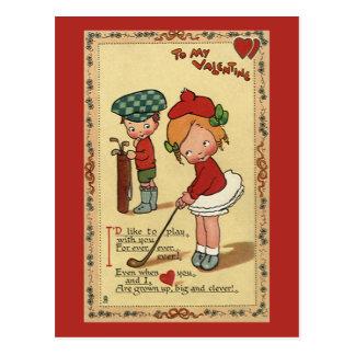 Carte Postale Saint-Valentin mignonne vintage, golf de sports