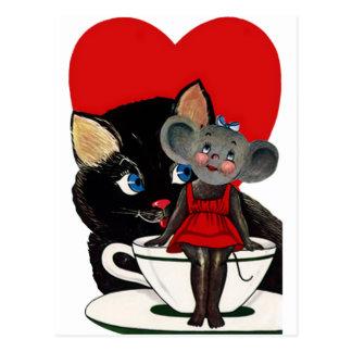Carte Postale Saint-Valentin vintage, coeur de tasse de thé de
