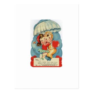 Carte Postale Saint-Valentin vintage de parachutisme