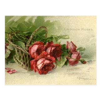 Carte Postale Saint-Valentin vintage, roses rouges cramoisis
