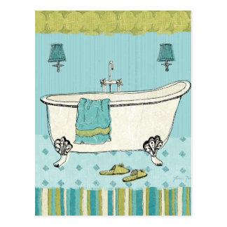 Carte Postale Salle de bains bleue démodée