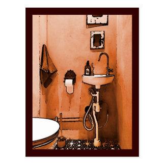 Carte Postale Salle de bains couleur pêche géniale