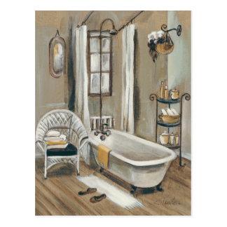 Carte Postale Salle de bains française avec la baignoire