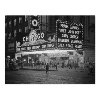 Carte Postale Salle de cinéma de Chicago la nuit Night, 1941