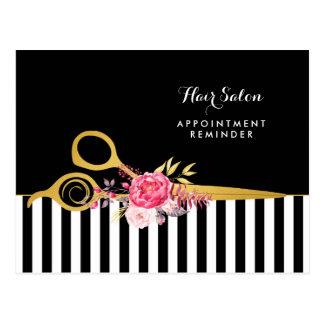 Carte Postale Salon floral de rose de ciseaux d'or de Faux de