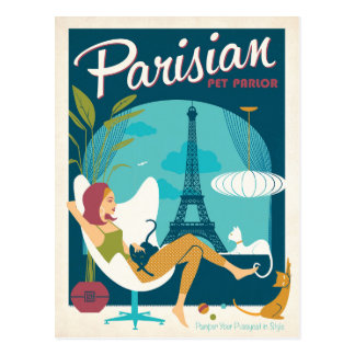 Carte Postale Salon parisien d'animal familier