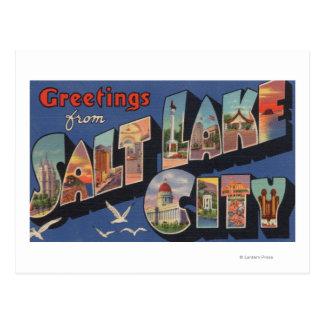 Carte Postale Salt Lake City, Utah - grandes scènes 2 de lettre