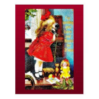Carte Postale Salutation de Noël avec une fille faisant un appel