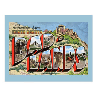 Carte Postale Salutations cru de bad-lands, le Dakota du Nord