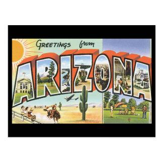Carte Postale Salutations d'affiche de voyage d'Arizona_Vintage