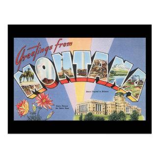 Carte Postale Salutations d'affiche de voyage de Montana_Vintage