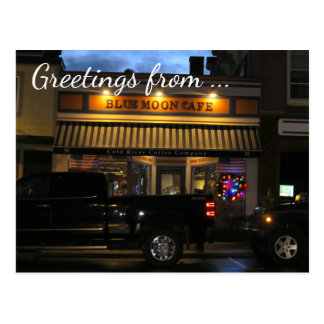 Carte Postale Salutations de café de lune bleue,
