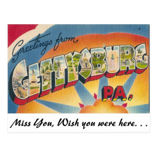 Carte Postale Salutations de Gettysburg, Pennsylvanie