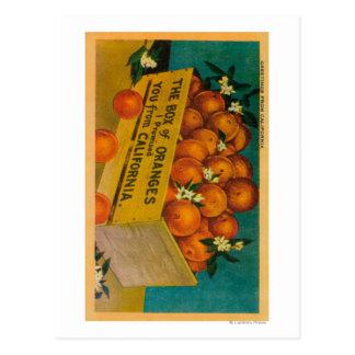 Carte Postale Salutations de la Californie, boîte d'OrangesState