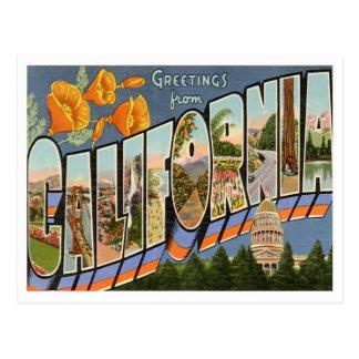 Carte Postale Salutations de la Californie des états d'USA