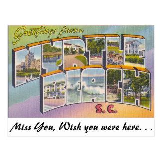Carte Postale Salutations de Myrtle Beach, la Caroline du Sud