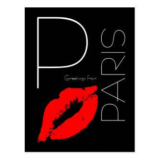 Carte Postale Salutations de noir rouge de baiser de rouge à