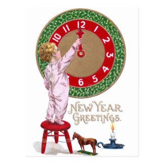 Carte Postale Salutations de nouvelle année d'horloge et