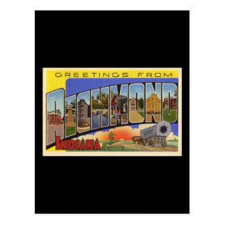 Carte Postale Salutations de Richmond Indiana