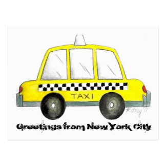 Carte Postale Salutations de taxi jaune de New York City NYC