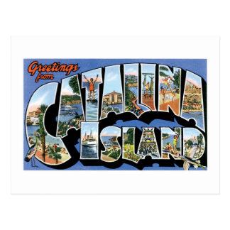 Carte Postale Salutations d'île de Catalina, la Californie rétro