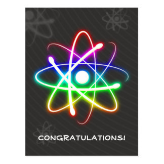 Carte Postale Salutations rougeoyantes colorées de l'atome |