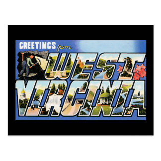 Carte Postale Salutations vintages de la Virginie Occidentale