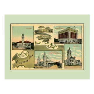 Carte Postale salutations vintages des années 10 de Worcester mA