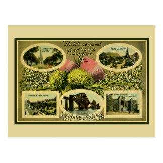 Carte Postale Salutations vintages des années 1900 d'Edimbourg
