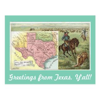 Carte Postale Salutations vintages du Texas vous