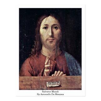 Carte Postale Salvator Mundi par Antonello DA Messine