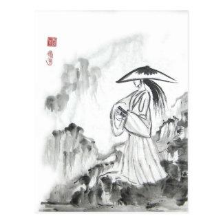 Carte postale samouraï d'épée de dessin