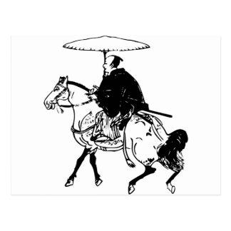 Carte Postale Samouraïs montant un cheval avec le parapluie,