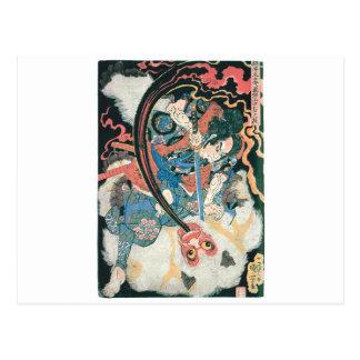 Carte Postale Samouraïs tuant un démon, peinture japonaise