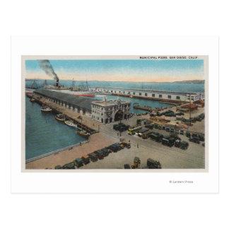 Carte Postale San Diego, CA - bord de mer municipal de piliers