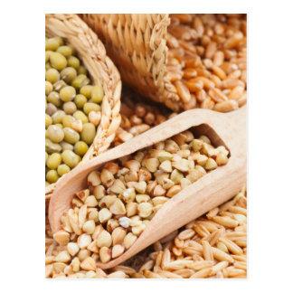 Carte Postale Sarrasin, blé, avoine et Mung verts - céréale