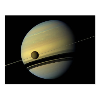 Carte Postale Saturn et photo de l'espace de Cassini de titan