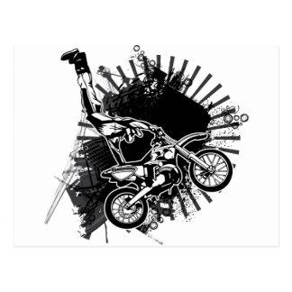 Carte Postale Saut grunge de motocross