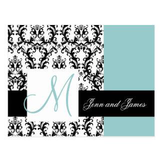 Carte Postale Sauvez le bleu de mariage damassé de monogramme de