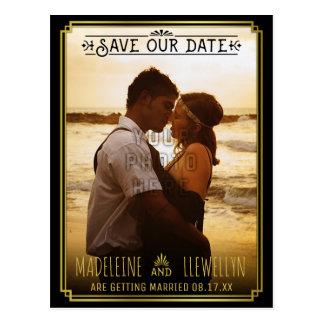 Carte Postale Sauvez le rétro or noir Deco de date épousant la