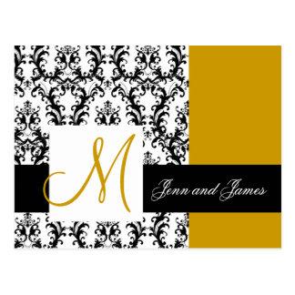 Carte Postale Sauvez l'or de mariage damassé de monogramme de