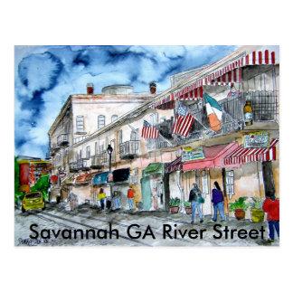 Carte Postale savannah_river_street_painting, la savane GA Riv…