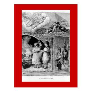Carte Postale Scène biblique de Noël victorien vintage
