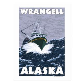 Carte Postale Scène de bateau de pêche - Wrangell, Alaska