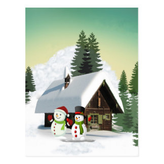 Carte Postale Scène de bonhomme de neige de Noël