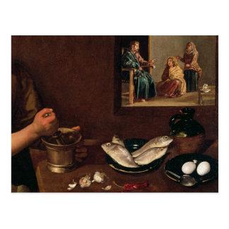 Carte Postale Scène de cuisine avec le Christ