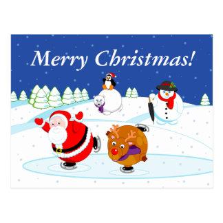 Carte Postale Scène de neige patinage du père noël et de Rudolph