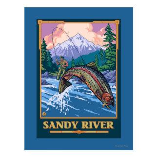 Carte Postale Scène de pêche de mouche - rivière de Sandy,